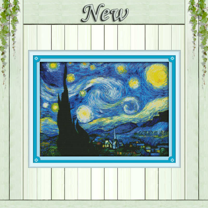 The Starry Night Van Gogh, 11CT cetak pada kanvas DMC 14CT Cross Stitch kit, bordir penuh menjahit Set, Scenic abstrak Decor