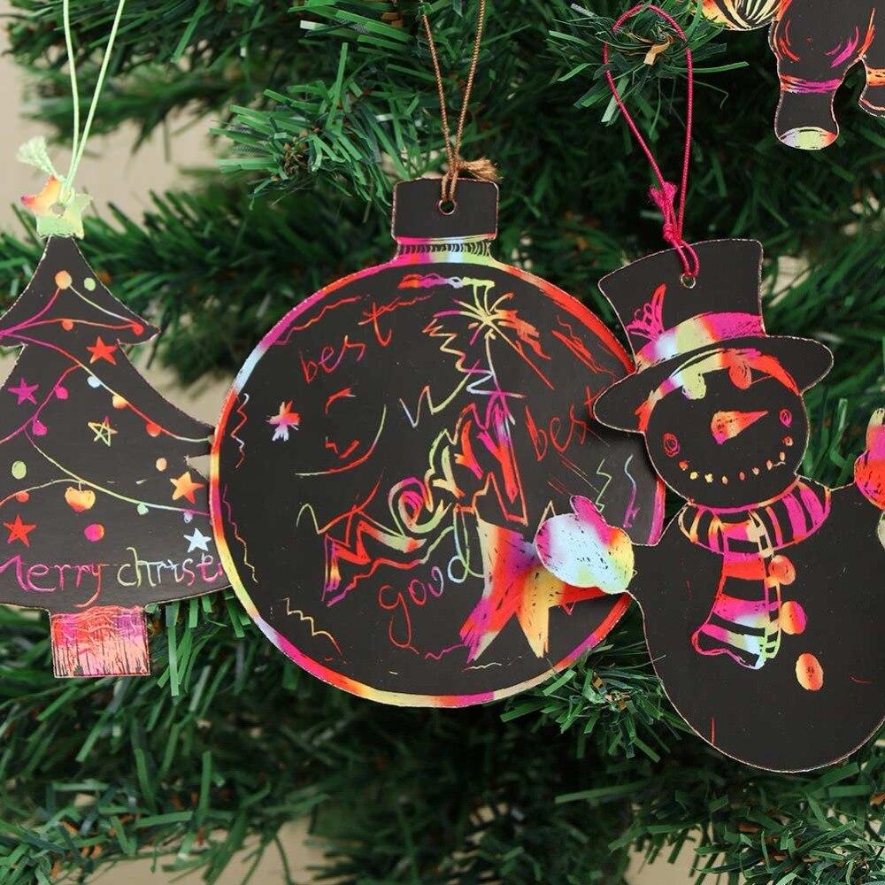 Aytai 24pcs Magic Color Scratch Christmas Ornaments DIY Paper ...