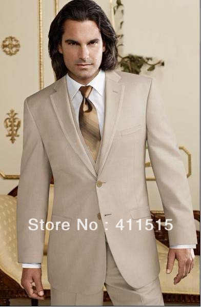 Free Shipping Dress For Wedding Groom Wear Tuxedos Gray Custom Made Champagne Color Men Suits