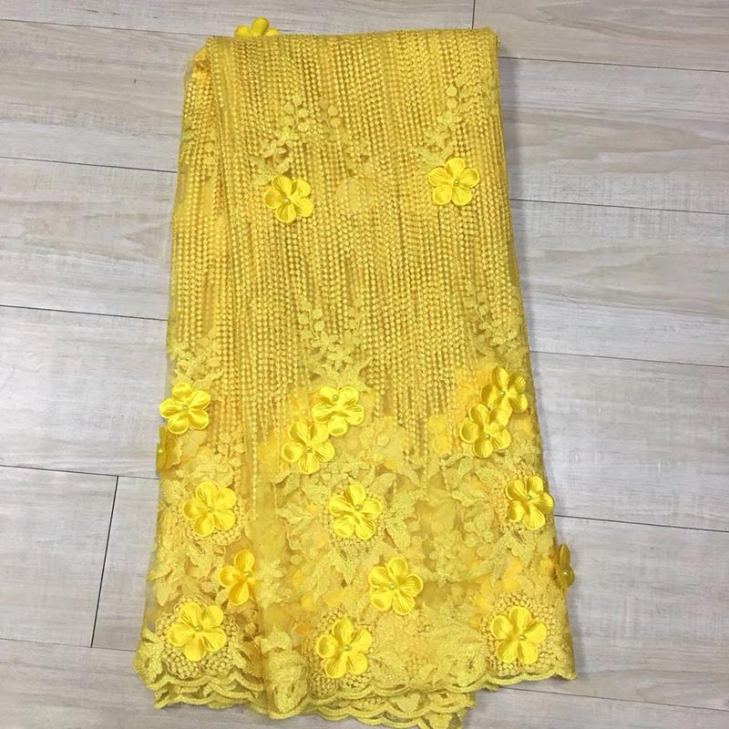 Latest African Cord Lace Fabric 2017 French Net Lace Fabric For Wedding 3D Applique Yellow Embroidery