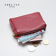 EMMA YAO  genuine leather purse women wallets fashion slim card holder korean coin purse