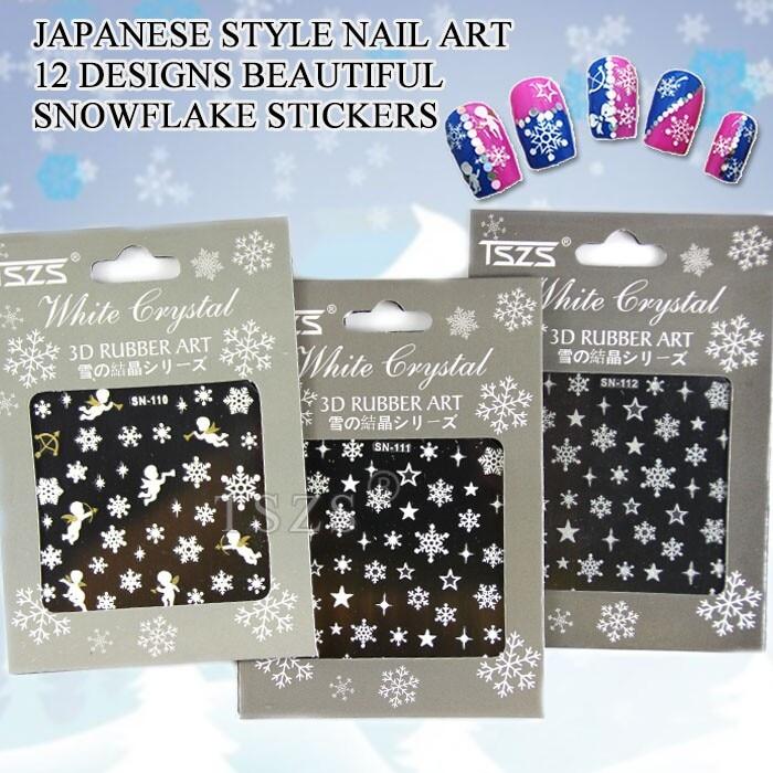 1bag/lot Nail Art 3D DIY Sticker Decal Snow Flakes Christmas Winter nail sticker water decal blue base flower christmas xmas white snow flake ru242 247