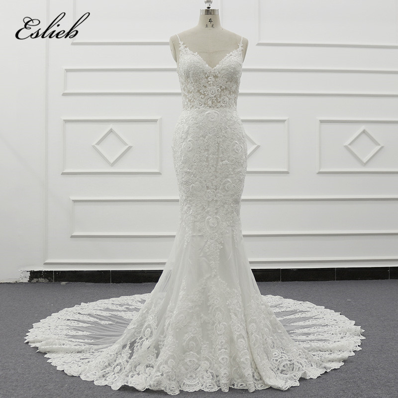 Lace Wedding Gowns With Straps: Eslieb 2019 The Newest Spaghetti Straps Mermaid Wedding