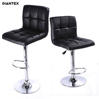 GIANTEX 2pcs PU Leather Modern Adjustable Bar Stool Swivel Chair Bar Chair Commercial Furniture Bar Tool