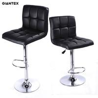 GIANTEX 2pcs PU Leather Modern Adjustable Bar Stool Swivel Chair Bar Chair Commercial Furniture Bar Tool
