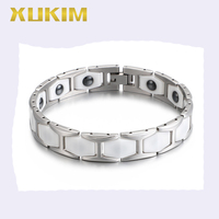 XMB119 Xukim Jewelry 316L stainless Steel Health Magnet Bracelets Ceramic Power Element Magnets Men Bracelet new fasion bangles