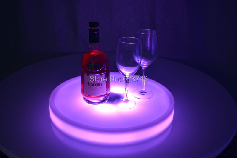 4Pcs/Lot Waterproof Round LED Light Up Serving Tray Multi Colors Rechargeable Luminous LED Fruit Trays Holder Light + Controller