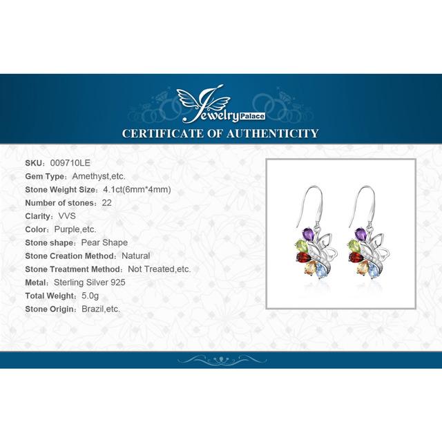Genuine Amethyst Citrine Peridot Topaz Drop Earrings 925
