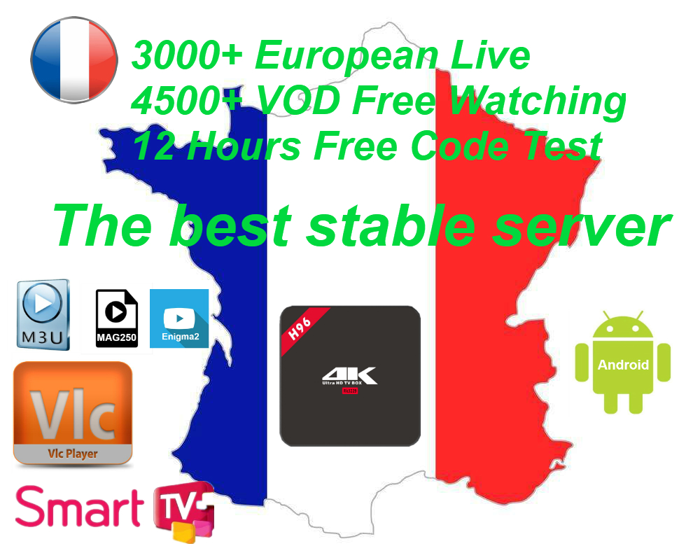 Franch Iptv Arabic Spain UK Adult Europe IPTV Code 4000+ Channels For Android USB Wifi TV Box France Package