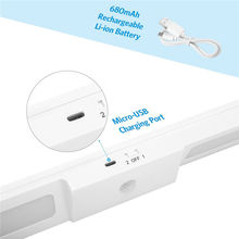 20 LED Under Cabinet Lighting USB Rechargeable Wireless Motion Sensor Night Light Stairs Wardrobe Closet Light Kitchen Lighting