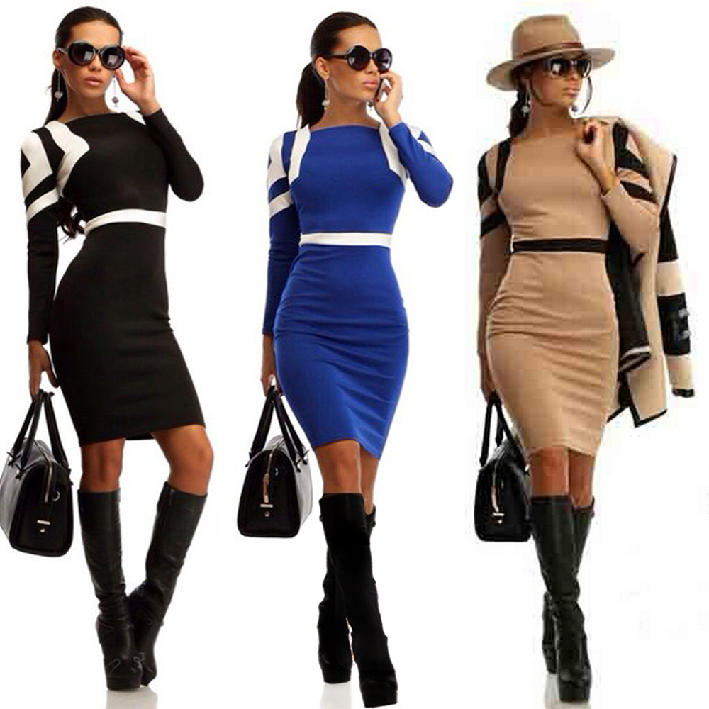 63c649db8c6 2015 New Fashion Slim Bodycon Dress Long Sleeve Winter Fall Casual Business  Wear Evening Mini Dresses-in Dresses from Women s Clothing on  Aliexpress.com ...