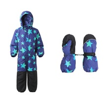 цена Moomin Moomintroll star boys winter overall muumi winter children overall waterproof zipper with mittens snow jumpsuit outdoor онлайн в 2017 году