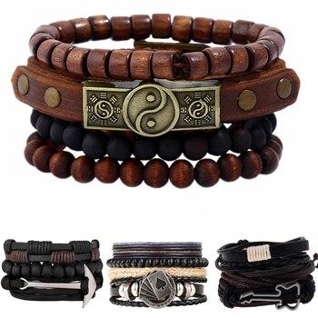 619766c49de8 2019 moda 4 unids/set pulseras Vintage hechas a mano mujer Homme Punk Charm  Bead hombres pulsera de cuero para mujeres joyería Pulseiras