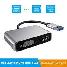 Adaptador 5 gbps usb 3.0 para vga hdmi, adaptador mac os usb para hdmi vga 1080p conversor de vídeo para múltiplos monitor windows 7/8/10