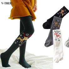 80d4521387bd8 V-TREE Deer Baby Tights For Girls Cotton Elastic Girls Tights Christmas  Girls Stockings Child