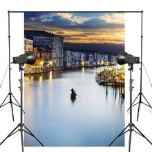 5x7ft Exquisite River Boat Photography Background Town Light Backdrop wedding Photo Studio Backdrop Props Wall 5x7ft wood wall vinyl photography backdrop photo background studio props high quality new best price
