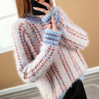 Long sleeved collar loose women's sweater striped retro thick sweater for ladies