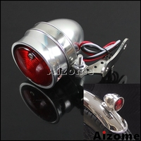 Polished Motorcycle Brat Style LED Tail Light Vintage Rear Stop Lamp For Harley Custom Cafe Racer w/ License Plate Light