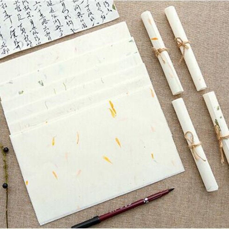 10pcs 280*170mm Fashion Vintage Natural Plants Series Manual DIY Multifunction Kraft Letter Paper Set Nice Gift