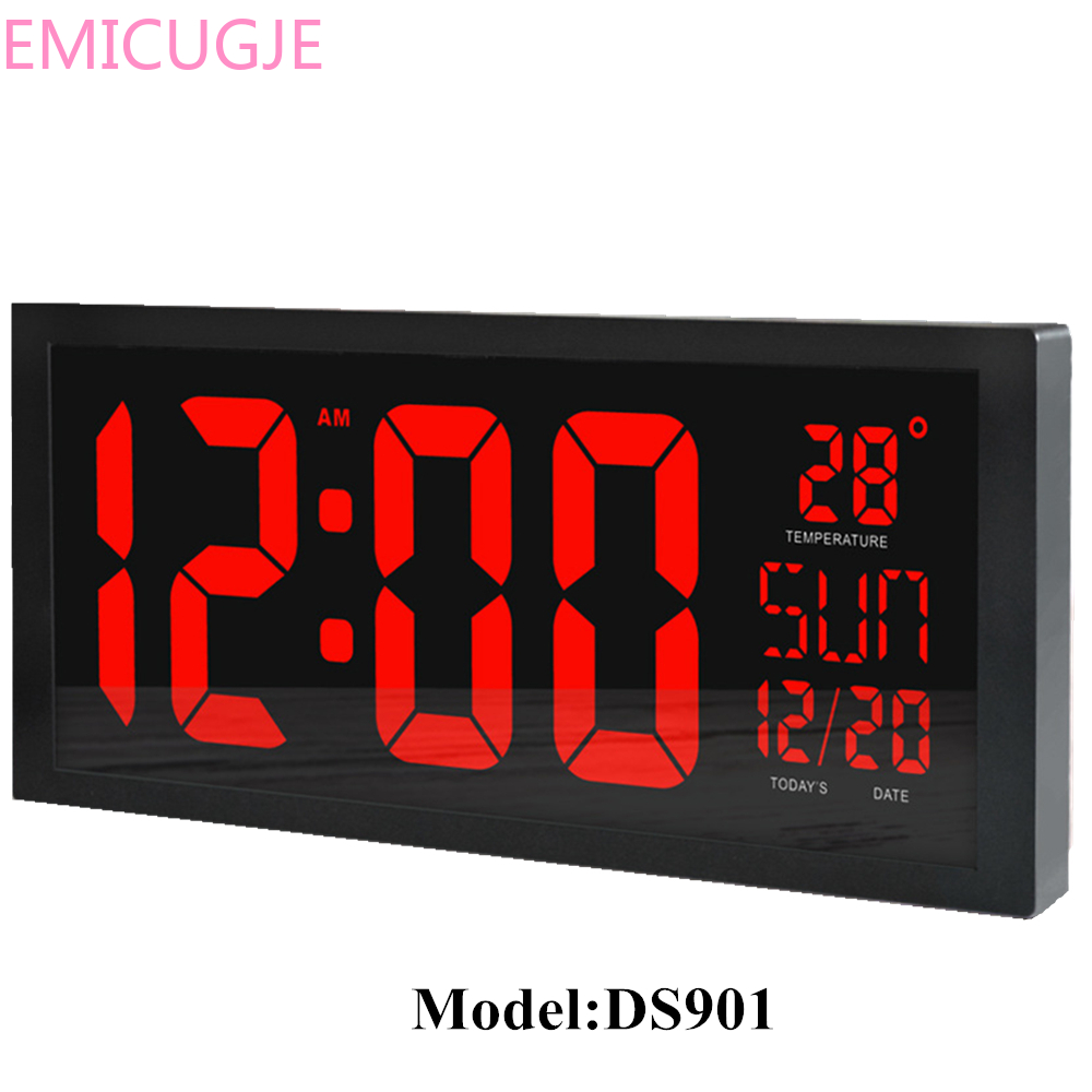 Wall Clock Home Desktop Calendar Clock Daylight Saving Time Function LED Electronic Clock With Thermometer HD LED Large Screen