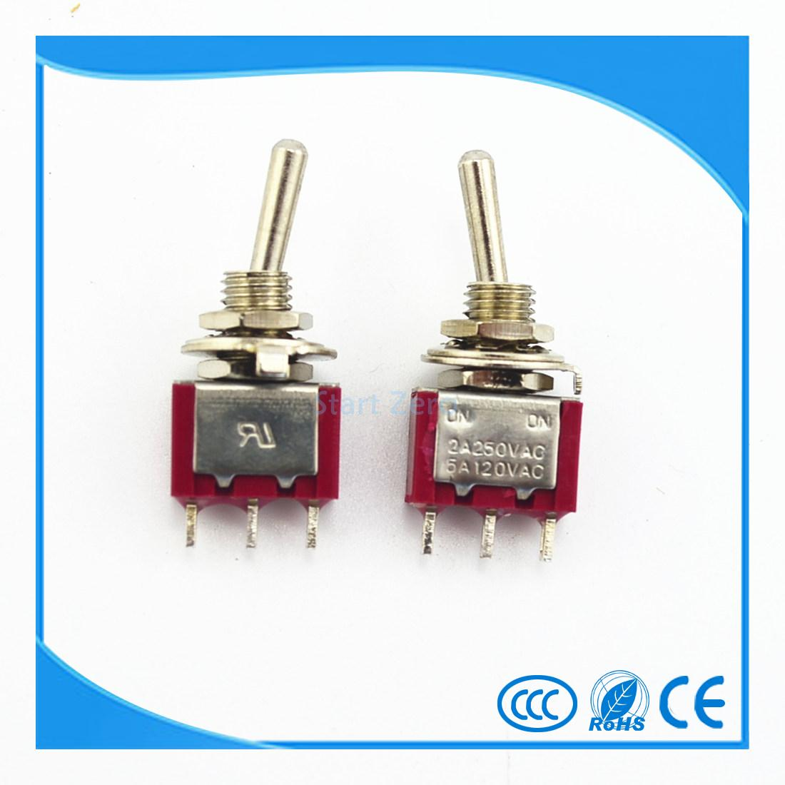 10Pcs 3 Pin 2 Position ON-ON Red Latching Toggle Switch AC 125V/6A