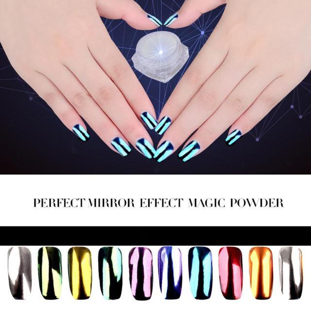 Caliente Mejor Oferta Beauty Girl 10 Colores de Uñas Glitter Powder Shinning Espejo de Maquillaje En Polvo de Uñas de Arte DIY Pigmento Set Dec.9