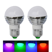 2pcs/lot, E27 3W LED Ball Bulb Lamp RGB w/ Remote Control -silver (AC 85~265V), free shipping
