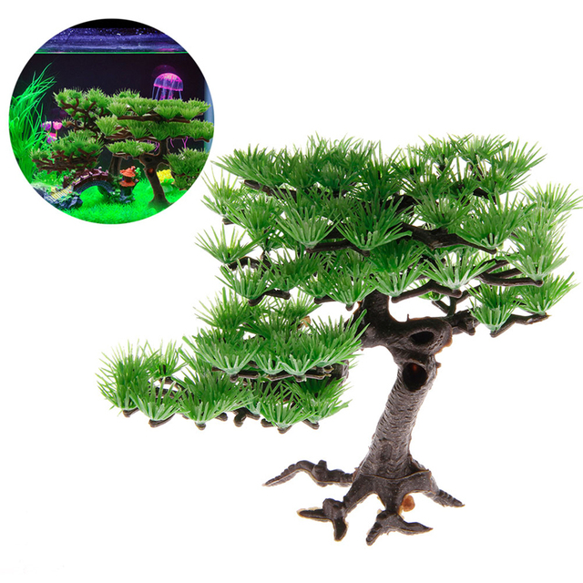 Artificial Plants Plastic Pine Aquarium Fish Tank Accessories Bonsai Decoration