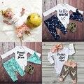 O Meu Primeiro Equipamento do natal Para O Bebê Da Menina do Menino Conjunto de Roupas China New Born Veados Bodysuit + Calça + Headbands 3 pcs Terno Boutique Kit 0-2 T