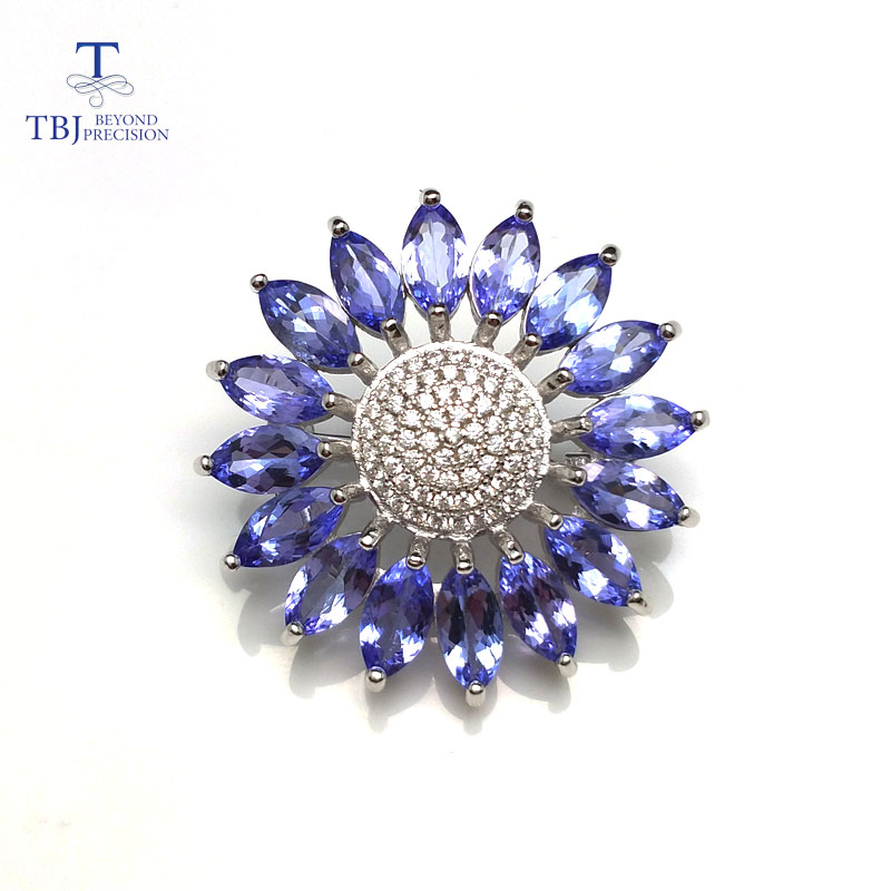 TBJ, Tournesol forme broche & coiffures avec naturel tanzanite pierres précieuses en 925 en argent sterling pour les femmes, cadeau spécial pour dame