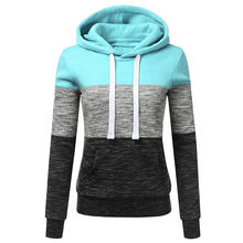 Fashion Womens Casual Hoodies Sweatshirt Patchwork Ladies Hooded Blouse Pullove Champion Sweatshirt Long Hoodie L30717(China)