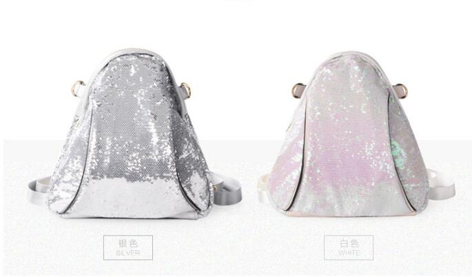 Fashion silver women backpack designer high quality soft nylon bags ladies small sequins backpacks for teenage