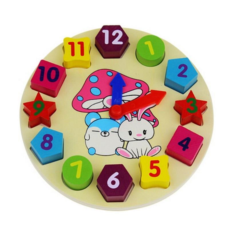 Koka pulkstenis Ģeometrijas numuri Kraušanas bloki vides Bērni Bērnu rotaļlietas Koka karikatūra Trušu digitālais pulkstenis