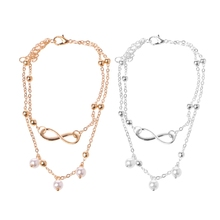 Women Infinity Love Double Chain Anklet Bracelet Beach Pearl Barefoot Jewelry