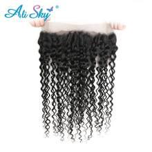 Alisky Hair – cheveux brésiliens Remy Swiss Lace Frontal Closure 360, cheveux naturels, Deep Wave, 10-20 pouces, 1 pièce, partie libre