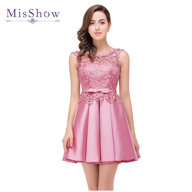 vestidos de gala Dusty Pink Prom Dresses 2019 Short Sexy Applique Lace  Formal Party Gown Prom Dress Elegant vestido de festa 02623c267c86