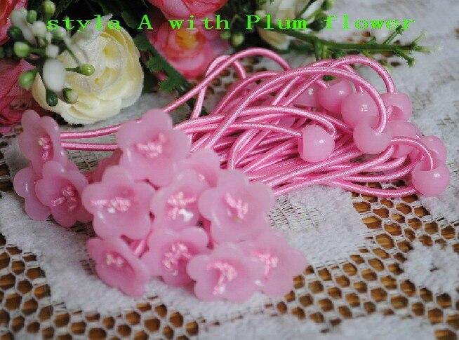 50 шт., аксессуары для волос DIY, материалы, эластичные резинки для волос, резинки для волос с цветком сливы, FJ3301