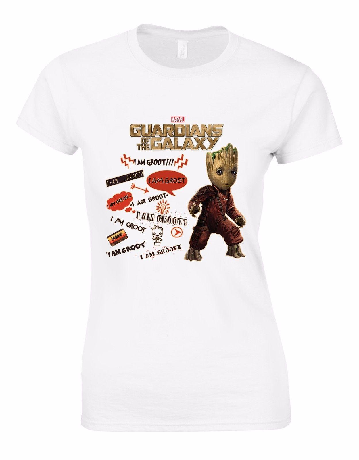 Womens Fashion T shirt Guardians of the Galaxy2 Mixtape I Am Groot Marvel Taglio Donna T-shirt Maglia