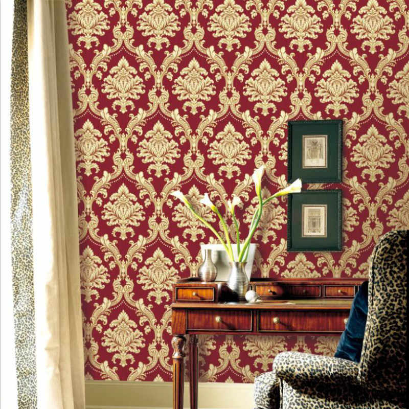 Damask Wallpaper Roll Embossed Pvc