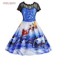 Summer Robe 50s Rockabilly Women Dress Lace Pleated Dresses Christmas Snow Print Princess Pin Up Dress