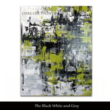 Top Artist Pure Hand-painted High Quality Colorful Abstract Oil Painting on Canvas Black White and Grey Green Thick