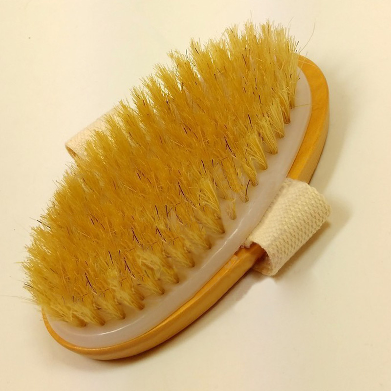New Dry Skin Body Brush Natural Bristle Brush Soft Handle Pouch Brush SPA Exfoliating Brush -15