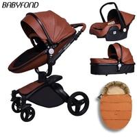 Babyfond высокого качества PU коляска, отделанная кожей 3 в 1 легкая алюминиевая рама Детские Водонепроницаемый корзину
