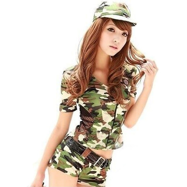 dd4b7b1088e 2018 Adult Women Camouflage Army Military Uniform Cosplay Halloween  Carnaval Police Costume Sexy Costumes Top+Shorts+Hat
