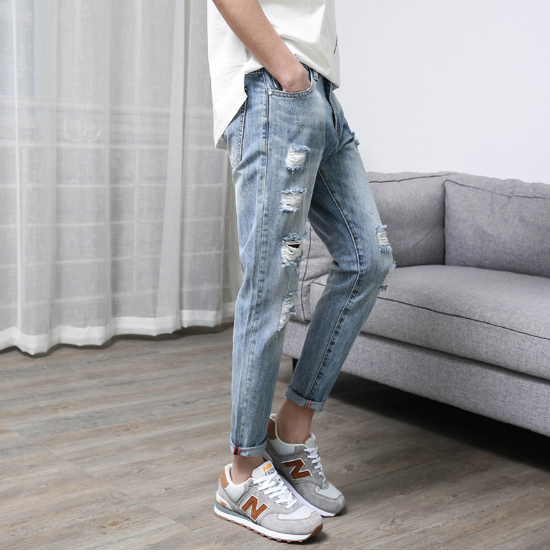 KSTUN Men's Jeans Korean Style Thin Cotton Ripped Distressed Painted Denim Jean Man Jogger Hiphop Broken Jeans Length 90cm-97cm 22