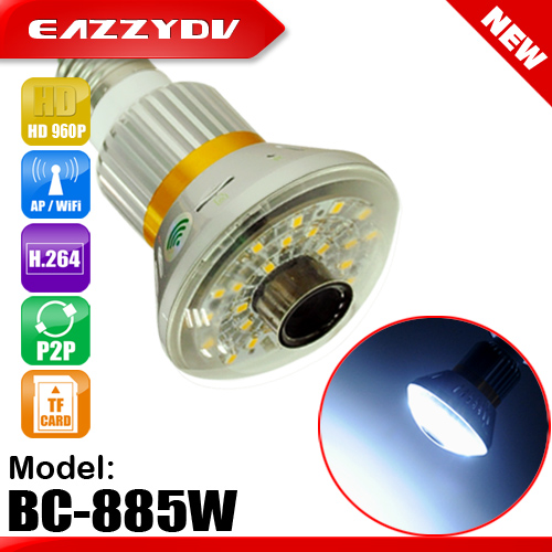 купить 885W HD 960P Led Bulb WiFi/AP P2P IP Network Camera with 5W White ED Light Night Vision Video Surveillance 2017 New Arrival недорого
