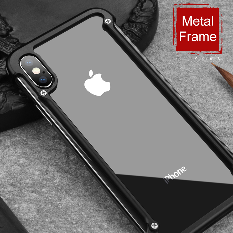 OATSBASF For IPhone XS XR Luxury Airbag Metal Protection Case Personality Shell For IPhone XS Case Slim Metal Bumper Cover