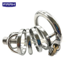 FRRK chastity cock cage with catheter 304 stainless steel  male masturbator penis ring porno adult sex toy bondage lock