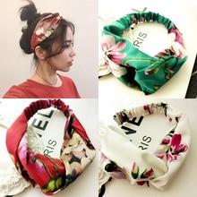 Las mujeres verano bohemio pelo bandas imprimir diademas Cruz Retro  turbante venda pañuelos diadema accesorios para el cabello d. 2a4dbc045f4d