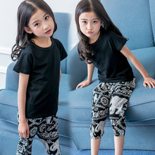 2Piece/Set Fashion Girls Summmer Clothes Set Short Sleeve Black Tshirt + Printing Pants Cotton Kids Suits Children Clothing